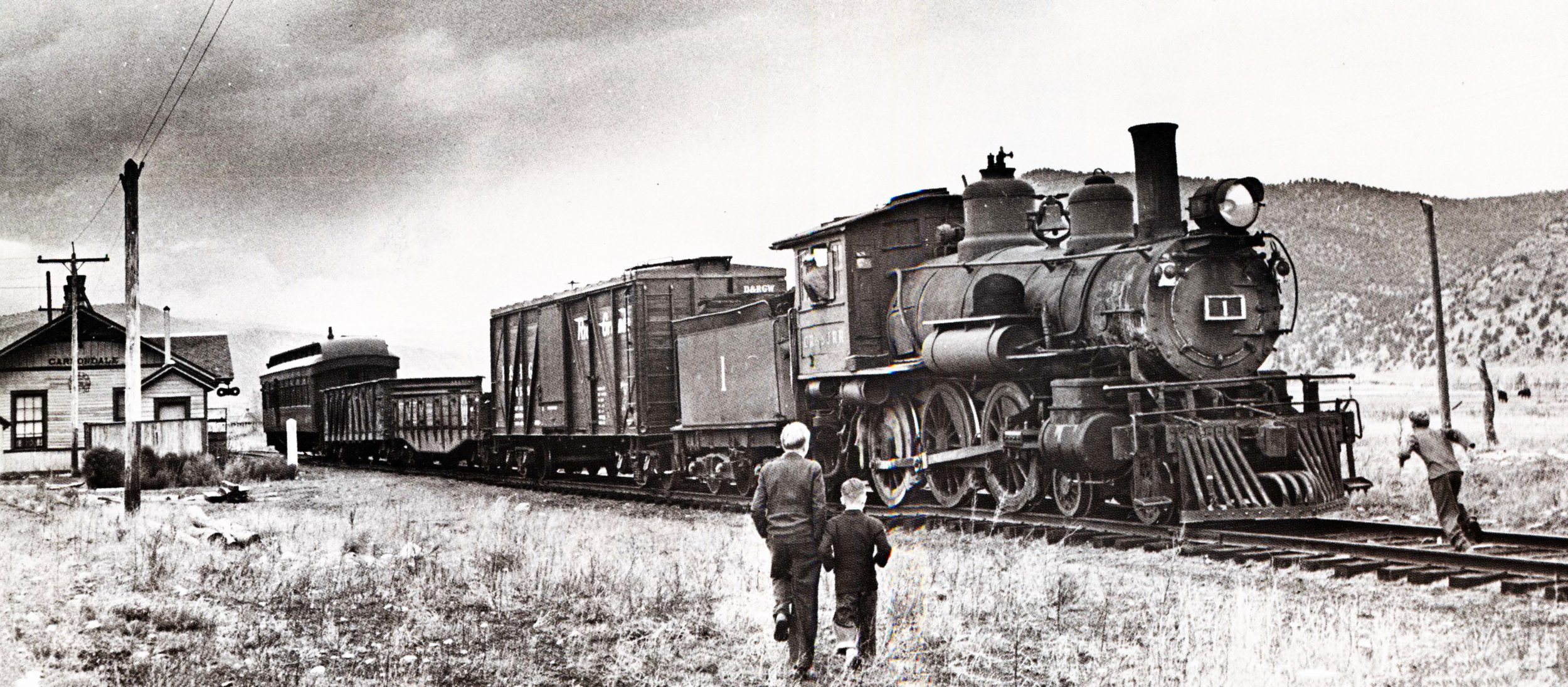 Crystal River & San Juan's locomotive #1 departs from Carbondale Depot on Oct. 25, 1941. Photo courtesy of Morrison A. Smith, from the collection of John W. Maxwell.