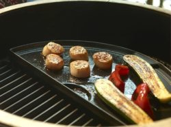 Cooking veggies and scallops on the Big Green Egg