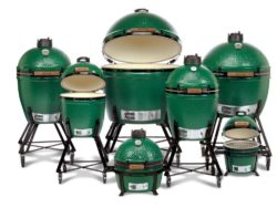 An assortment of Big Green Egg Grills