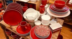 Dinnerware pieces in red, red and white, and white, to purchase individually.