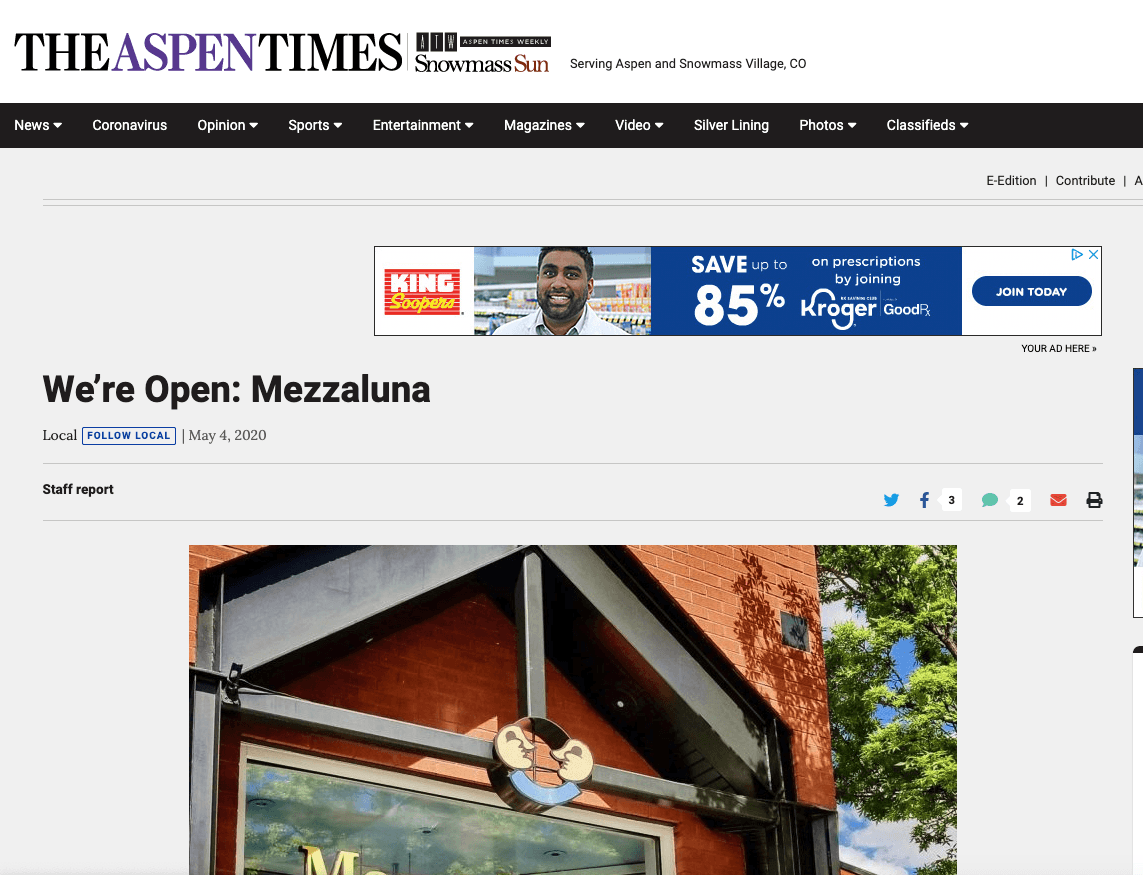 Screenshot - Aspen Times, Mezzaluna: We're Open