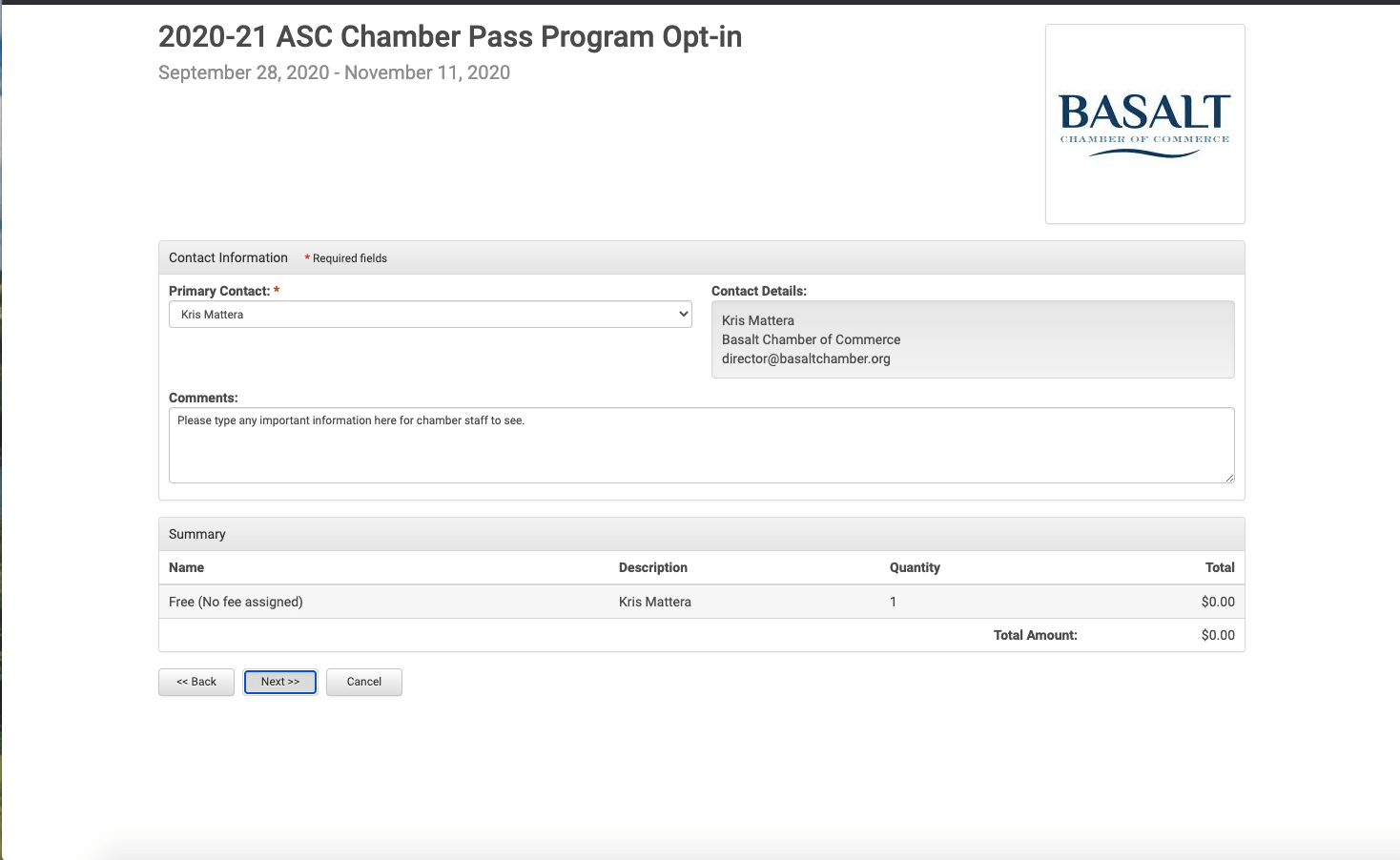 Chamber Pass Program - Comments