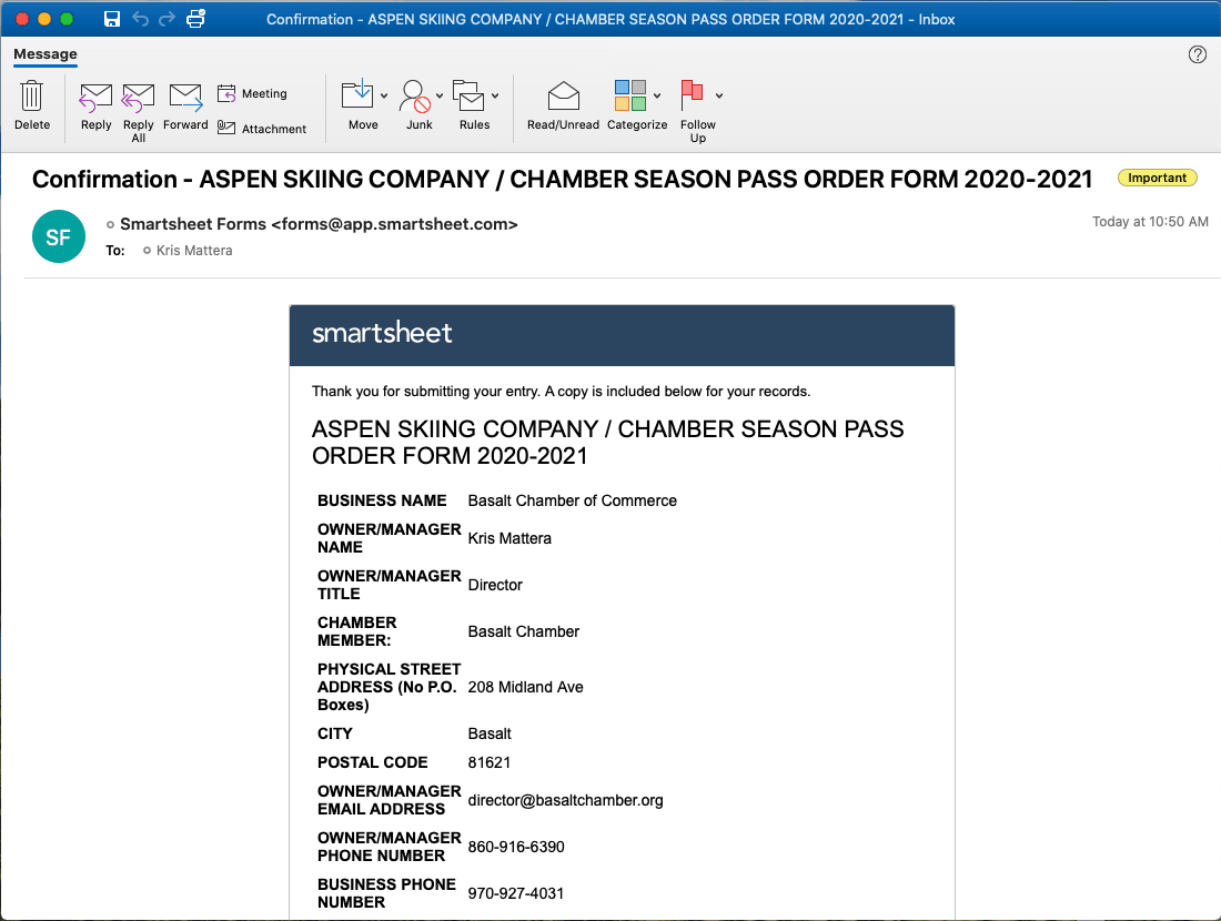 Chamber Pass Program ASC pass order confirmation email screenshot