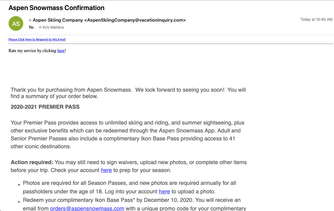 Step 4 ASC Payment Confirmation email