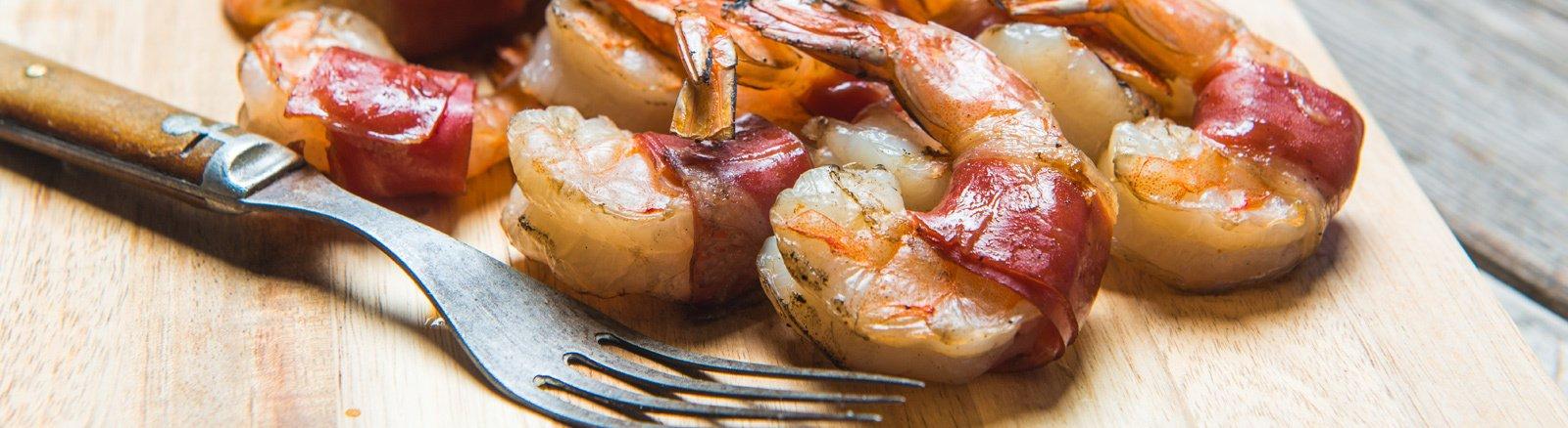 Prosciutto Wrapped Shrimp with Peach Salsa thumbnail