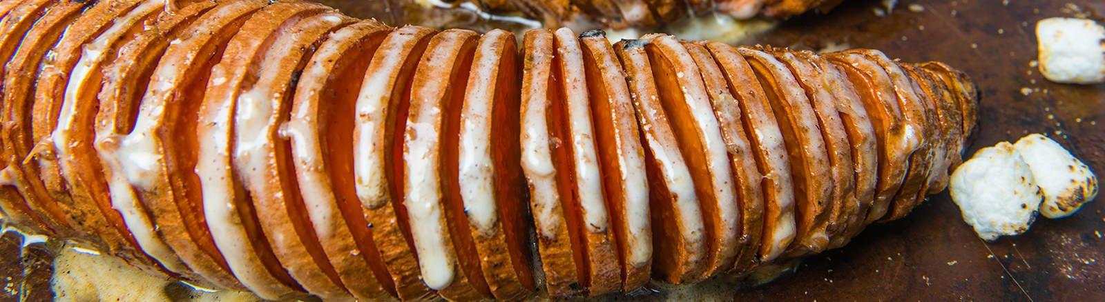 Marshmallow Hasselback Sweet Potatoes thumbnail