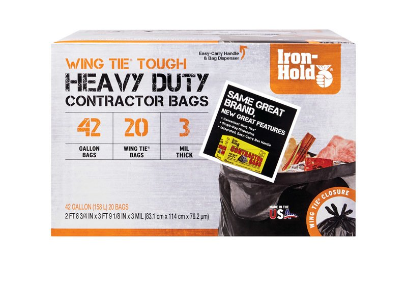 Iron Hold 42 gal. Contractor Bags Twist Ties 20 pk thumbnail