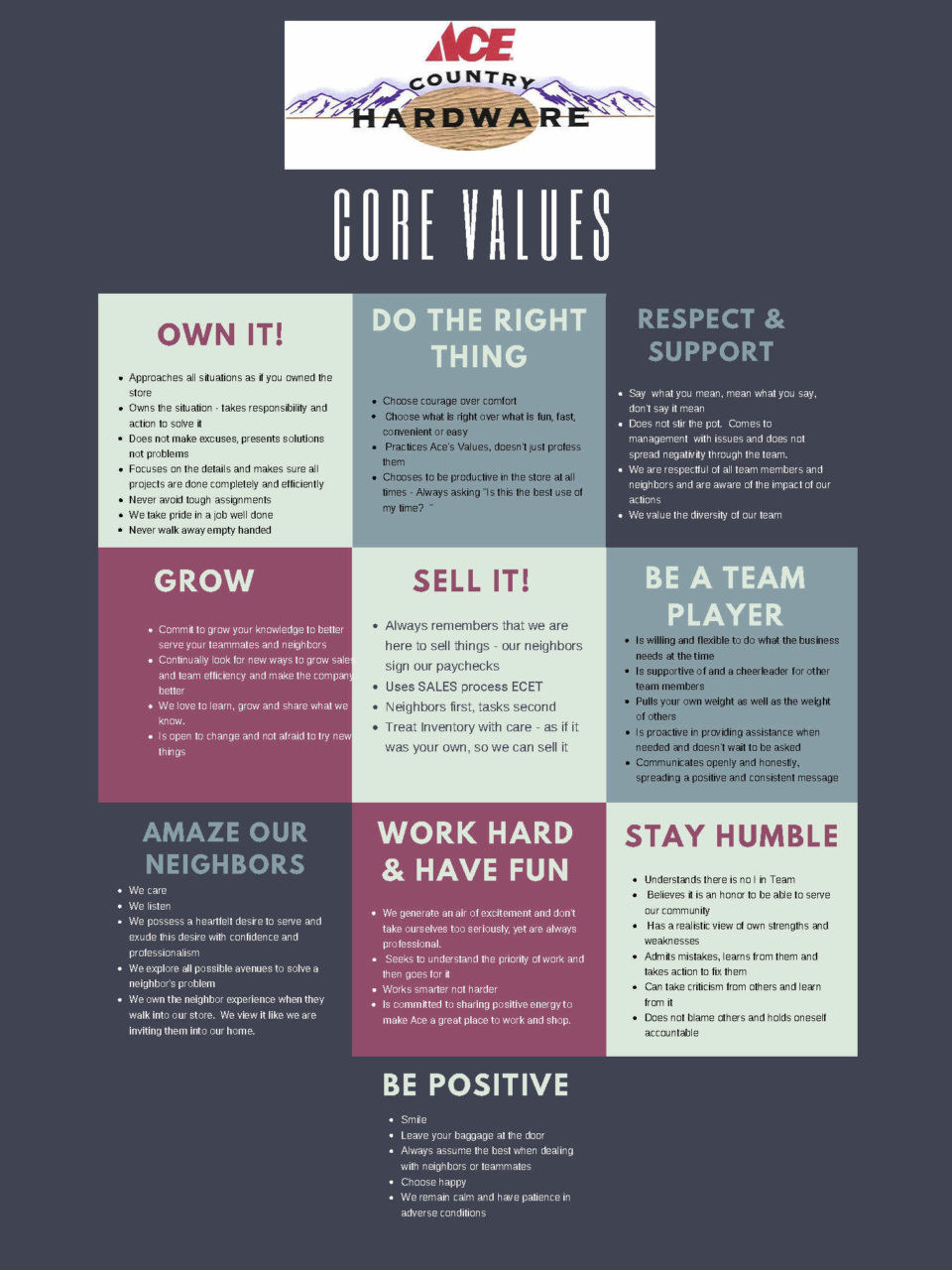 Country Ace Core Values