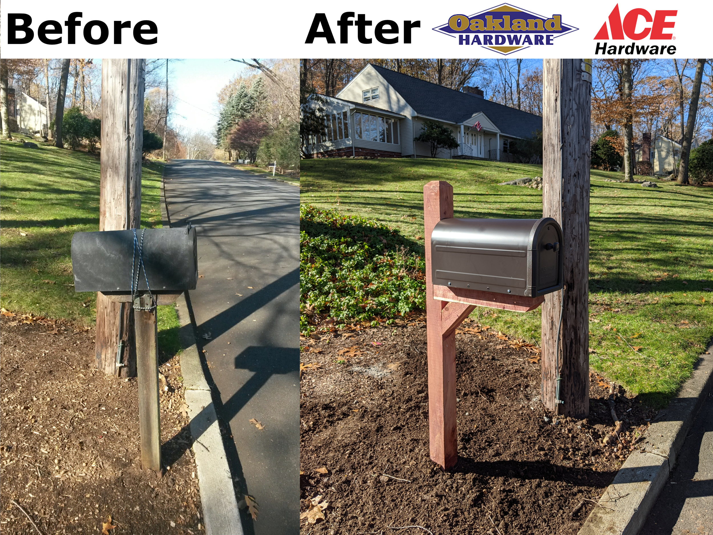 Before and After images of a dilapidated mailbox falling off it's post, and the new mailbox replaced with new post.