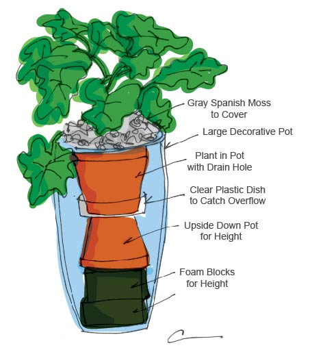 Potted Plant Diagram: Moss, Decorative Pot, Clear Plastic dish, pot for height, foam block for height.