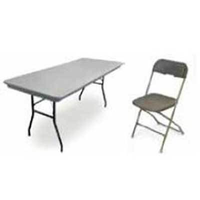 Image of a folding table and folding chair