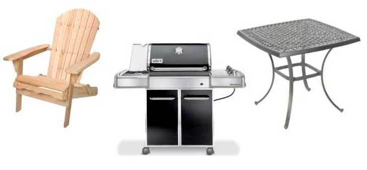 Image of Adirondack chair, weber gas grill and outdoor table.
