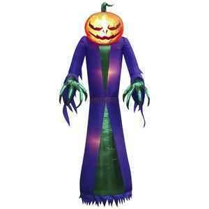 7′ tall Kaleidoscope Airblown Pumpkin Reaper thumbnail