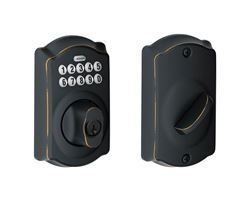 Schlage Aged Bronze Steel Electronic Deadbolt thumbnail
